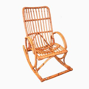 Mid-Century Rattan Rocking Chair
