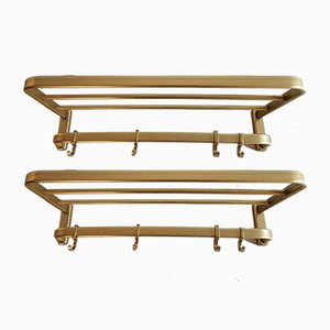 Small Vintage Wall Coat Racks, Set of 2