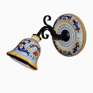 Kleine Vintage Wandlampe aus Eisen & Keramik