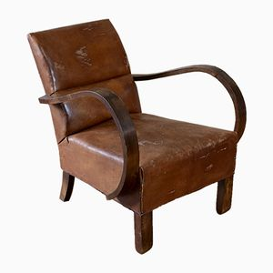 Vintage French Leather Club Bridge Chair