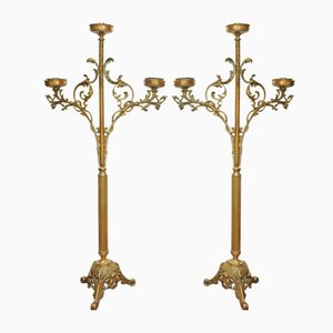 Antique French Brass Altar Candelabra, Set of 2