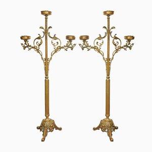 Candelabro da altare antico in ottone, Francia, set di 2