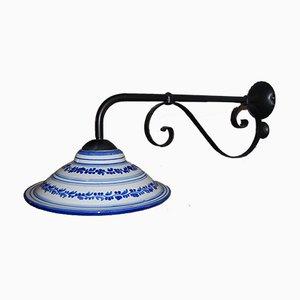 Small Vintage Italian Iron & Ceramic Wall Light