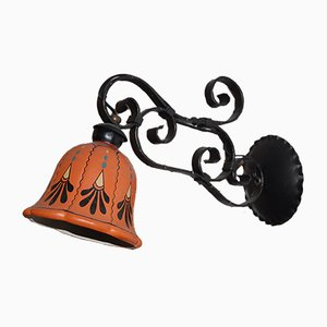 Small Vintage Italian Iron & Ceramic Wall Lamp