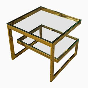 Vintage Brass and Glass Side Table