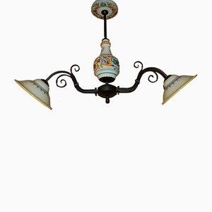 Lámpara de araña italiana vintage de hierro y cerámica