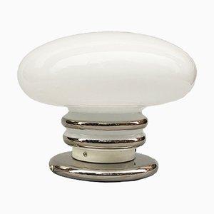 Vintage Mushroom Tischlampe aus Chrom & Opalglas, 1970er