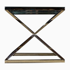 Tavolino vintage cromato e in vetro