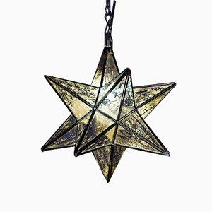 Farol Mid-Century en forma de estrella de vidrio