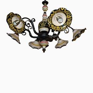Lámpara de araña italiana vintage con seis luces