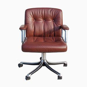 Leather Swivel Chair by Osvaldo Borsani for Tecno, 1960s