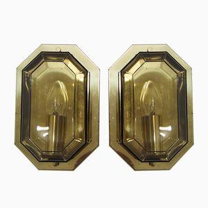 Apliques de latón dorado y vidrio ahumado de Limburg, años 70. Juego de 2