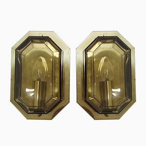 Gilded Brass & Smoked Glass Sconces from Limburg, 1970s, Set of 2