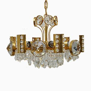 Mid-Century Gilded Brass & Crystal Chandelier from Palwa, 1970s