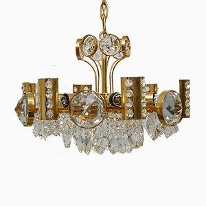 Mid-Century Kronleuchter aus vergoldetem Messing & Kristallglas von Palwa, 1970er