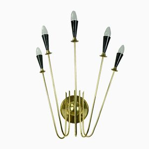 Large Atomic 5-light Wall Lamp in Brass, 1950s