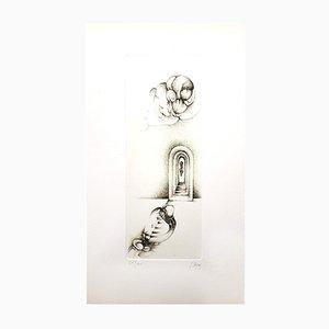 Incisione Surrealism VII vintage grigia di Fred Deux