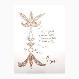 Lithographie The Voice par Jean Cocteau, 1958