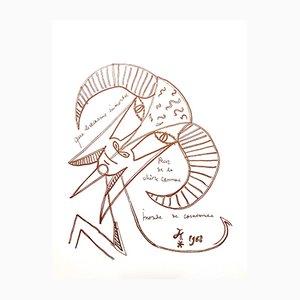 Immortal Goat Lithografie von Jean Cocteau, 1958