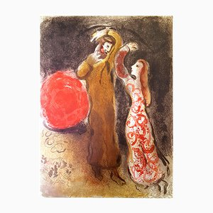Meeting of Ruth and Boaz Lithograph by Marc Chagall, 1960