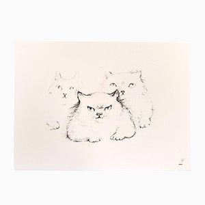 Gravure à l'Eau Forte Cats par Leonor Fini, 1985