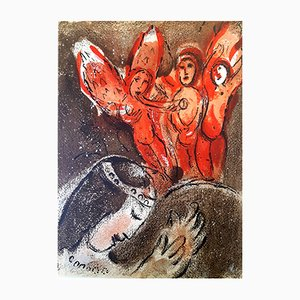 Lithographie Sarah and the Angels par Marc Chagall, 1960