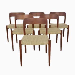 Model 75 Dining Chairs By Niels Otto (N. O.) Møller for J.L. Møllers, 1960s, Set of 6