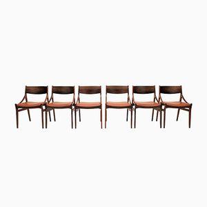 Esszimmerstühle aus Palisander & Leder von Vestervig Eriksenfor Brdr Tromborg, 1960er, 6er Set