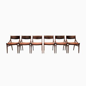 Rosewood & Leather Dining Chairs by Vestervig Eriksen for Brdr Tromborg, 1960s, Set of 6