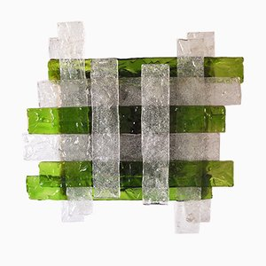 Green Murano Glass Wall Lamp from Poliarte, 1960s