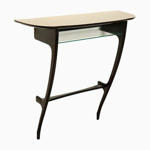 Formica, Glass, and Wood Console Table, 1950s