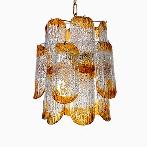 Orange Murano Chandelier from Mazzega, 1970s