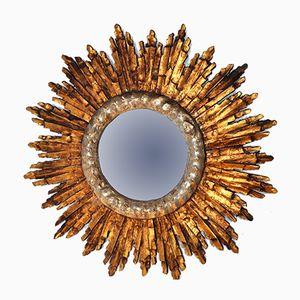 Espejo Mid-Century en forma de sol de madera dorada