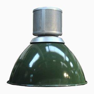 Lampe à Suspension Industrielle Mid-Century en Émail Vert