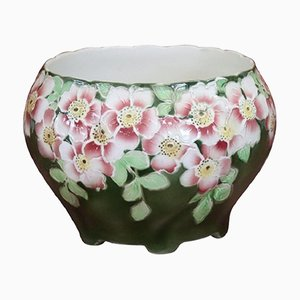 French Art Nouveau Ceramic Cachepot Vase, 1920s