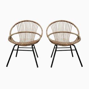 Chaises en Métal et Osier, 1960s, Set de 2