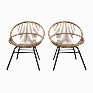 Wicker & Metal Chairs, 1960s, Set of 2