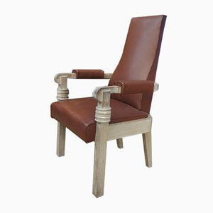 Leather and Oak Armchair by Charles Dudouyt, 1940s