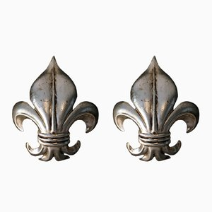 Italian Silver Fleur De Lis Wall Lights, 1960s, Set of 2
