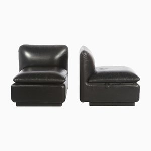 Low Leather Chairs, 1970s, Set of 2