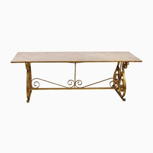 French Marble & Wrought Iron Console Table, 1930s