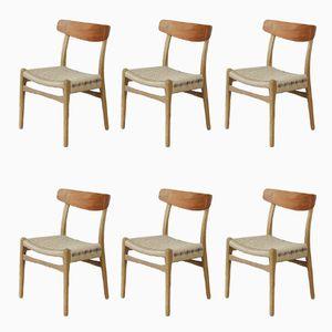 CH23 Esszimmerstühle von Hans Wegner für Carl Hansen, 1950er, 6er Set
