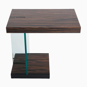 Macassar Side Table with Light from Fontana Arte, 1960s