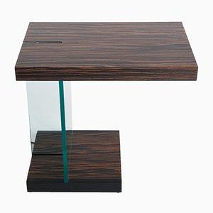 Macassar Side Table with Light from Fontana Arte, 1960s