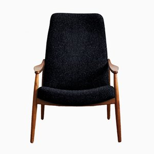 Customizable Vintage High Back Cherry Easy Chair by Hartmut Lohmeyer for Wilkhahn