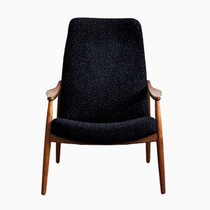 Personalisierbarer Vintage Armlehnstuhl mit hoher Rückenlehne aus Kirschholz von Hartmut Lohmeyer für Wilkhahn