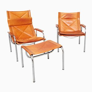 Vintage Lounge Chairs and Stool by Hans Eichenberger for Strässle