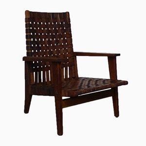 Französischer Armlehnstuhl aus Eiche & Leder von Thonet, 1950er