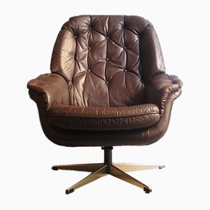 Brown Leather Swivel Lounge Chair, 1970s