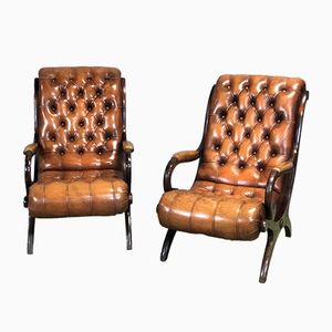 Chesterfield Ledersessel, 1950er, 2er Set